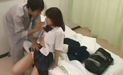 Censored video of a young Japanese schoolgirl getting fucked in the hospital