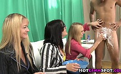 Clothed femdom babes shave guy