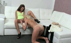 Blonde in lingerie licks cunt of female agent on casting