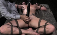 Spreadeagle tied up sub vibrator on clit