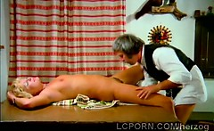 Vintage blonde waitress gets her sweet pussy tongued
