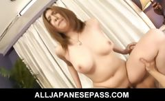 Hairy Asian beauty bends over for a hard bangin