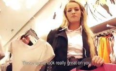 Amateur Czech girl fucked in public dressing room for money