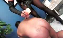 Kinky mature mistress waxes naked dude