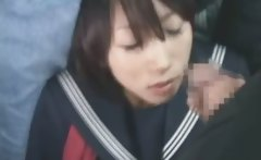 Asian Coed Gets Cum in Crowded Bus!