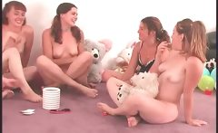 Coeds strip naked in truth or dare games
