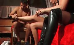 Outdoor BDSM action where guy and girl
