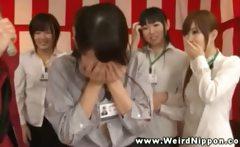 Shy pretty orientals get their breasts massaged by girls