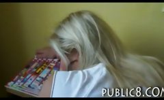 Cute amateur blonde bookworm girl asshole fucked in library