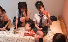 Three cute Japanese girlfriends loving
