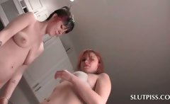 Lesbian Piss Slut Duo Kissing And Hugging Naked