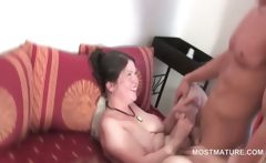 Slim mature taking cock from behind in group sex