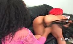 Lesbo ebony beauty spanking her GFs sexy butt