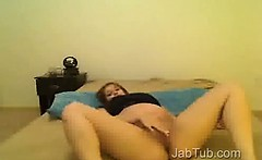 Young pregnant girl with dildo on webcam